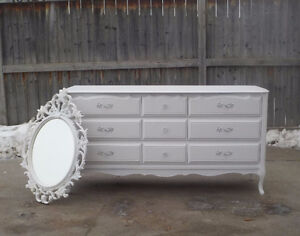 FRENCH PROVINCIAL 9 DRAWER DRESSER & MIRROR-WINTER WHITE BARONET
