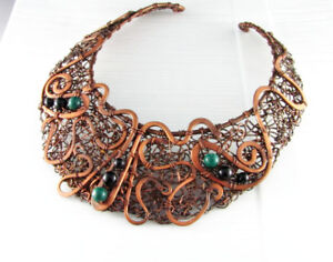 Handmade copper wire wrap necklace