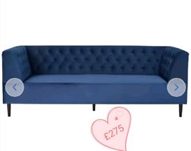 MASSIVE CLEARANCE. 3 seater velvet sofa. Navy. Was £400