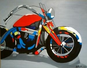 Acrylic painting of Motorcyle