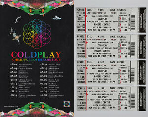 Coldplay Tickets - ROW 4 - Rogers Centre - August 21st