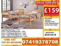 Brand New Wooden Bunk Single Small Double Bed