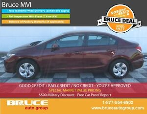 2013 Honda Civic LX 1.8L 4 CYL i-VTEC 5 SPD MANUAL FWD 4D SEDAN