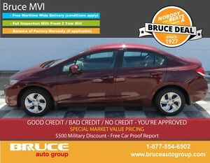 2014 Honda Civic LX 1.8L 4 CYL I-VTEC CVT FWD 4D SEDAN HEATED SE