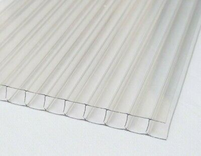 14 6mm Clear Polycarbonate Twin Wall 24x12 Sheet Azm