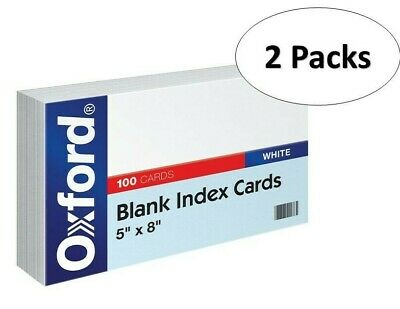 Oxford 50 5 X 8 Blank Index Cards - White 100pack 2 Pack