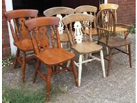 Mixed Solid Pine Or Beech Country Kitchen Dining Chairs Shabby-Chic Paint Project