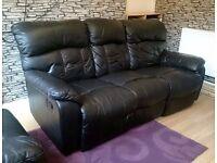 Harveys Black leather 3 Seater Recliner sofa