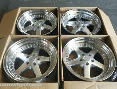 ESR SR04 Silver Machined Lip 18 Inch Wheels 18x9.5 5x100 +35 (Rims Set 4) Machined Lip Set