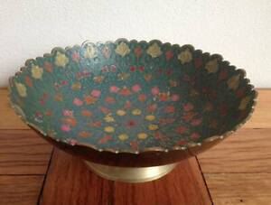 Vintage Brass Footed Pedestal Bowl Painted Inlay Abstract Floral 20cm