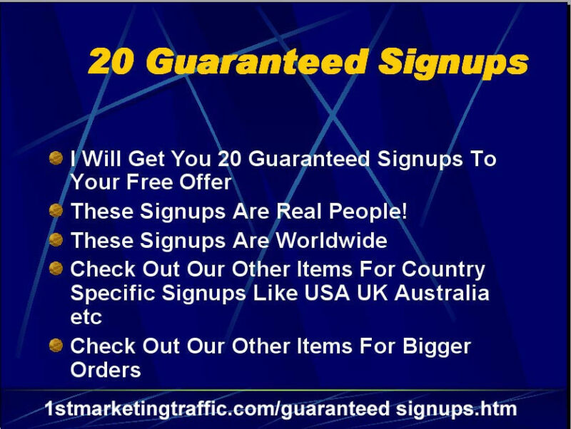 20+ International Real Signups To Build Your Downline or Business/CPA offer