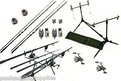 Carp Fishing Set Kit 2 Rods 2 Reels 2 Alarms Rod Pod + More