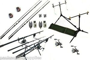 Carp-Fishing-Set-2-Rods-2-Reels-2-Alarms-Rod-Pod-More
