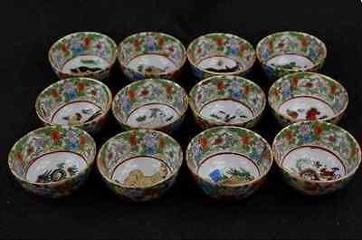 Chinese Jingdezhen Porcelain Drawing 12 Zodiac Bowls Nice B01