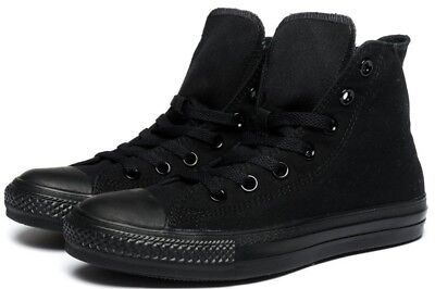 Converse Hi Top All Star Chuck Taylor Black Mono Mens Womens Shoes All Sizes