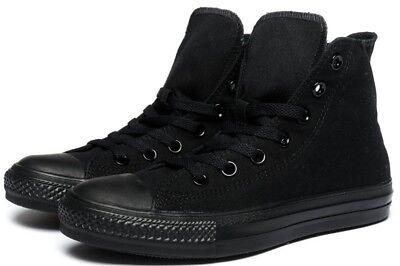 Chuck Taylor Hi Tops - Converse Hi Top All Star Chuck Taylor Black Mono Mens Womens Shoes All Sizes