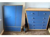 blue 3 door wardrobe AND chest of drawers