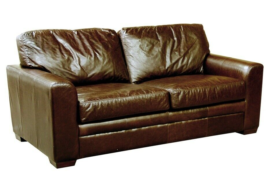 Outstanding Real Aged Brown Leather Sofa Bed Brand New In Clifton Bristol Gumtree Short Links Chair Design For Home Short Linksinfo