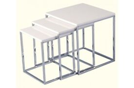 Charisma Nest of Tables in White Gloss & Chrome