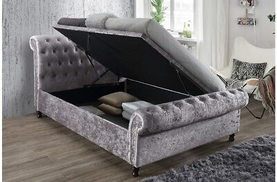 - Luxury Fabric Side Lift Button Sleigh Bed With 4FT6 5FT 6FT With Mattress Option