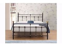 4FT6 DOUBLE BLACK METAL BED ** BRAND NEW BOXED **