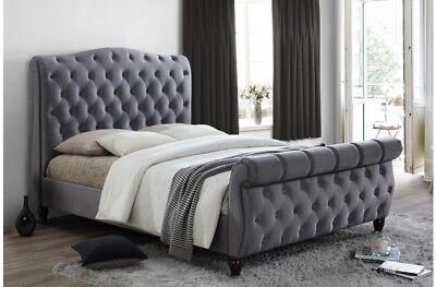 - Sophisticated Luxury Sleigh Bed In Deluxe Grey Velvet 6ft Bed Frame Only