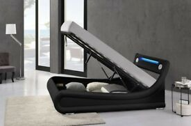 Bluetooth ottoman bed with speakers in the headboard