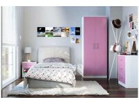 Brand New 3 Piece 2 Door Wardrobe 3 Drawer Chest and 1 Bedside Cabinet Bedroom Set White Pink Gloss