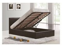 GET IT NOW GAS LIFT UP BED DOUBLE OTTOMAN STORAGE BED ( BLACK,BROWN & WHITE )
