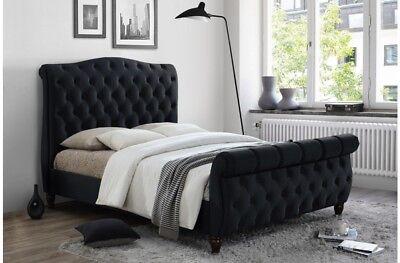 - Sophisticated Luxury Sleigh Bed In Deluxe Velvet 5ft 6ft Bed Frame Only