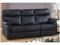 Lola 3 Seater Sofa in Black Faux Leather