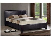 **100% GUARANTEED PRICE!**BRAND NEW-Double Leather Bed With 10Inch Deep Quilted Dual Sided Mattress