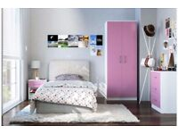 Brand New 3 Piece 2 Door Wardrobe Chest of Drawers Bedside Table Gloss Bedroom SET - White/Pink