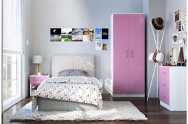 Brand New 3 Piece Gloss 2 Door Wardrobe Chest Bedside Table Bedroom SET - White/Pink