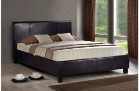 "★★ SAME DAY FAST DELIVERY ★★ DOUBLE LEATHER BED FRAME WITH 9"" DEEP QUILTED MATTRESS -SAME DAY"