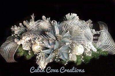 Christmas Floral Arrangement Swag Holiday Centerpiece Blue Silver Snow Flocked  ()