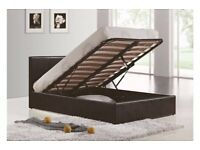 4FT6 5FT OTTOMAN STORAGE OR STANDARD LEATHER BED BLACK BROWN WHITE + MATTRESS