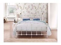 4FT6 DOUBLE CREAM DOUBLE METAL BED ** BRAND NEW BOXED **