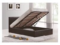 COLOURS OPTION AVAILABLE === DOUBLE OTTOMAN STORAGE BED FRAME ( BLACK,BROWN & WHITE )