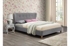4'6ft Double Upholstered fabric Bedstead in Grey