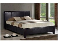 Italian black faux leather 4ft6 double bed frame with quality mattress, Free delivery