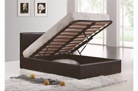 STRONG AND STURDY- BRAND NEW DOUBLE & KING SIZES OTTOMAN STORAGE GAS LIFT LEATHER BED WITH MATTRESS