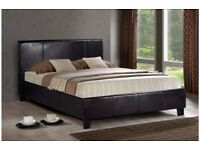 ❋★❋ STYLISH & LUXURY DESIGN ❋★❋ DOUBLE LEATHER BED FRAME WITH FULL FOAM MATTRESS BLACK OR BROWN