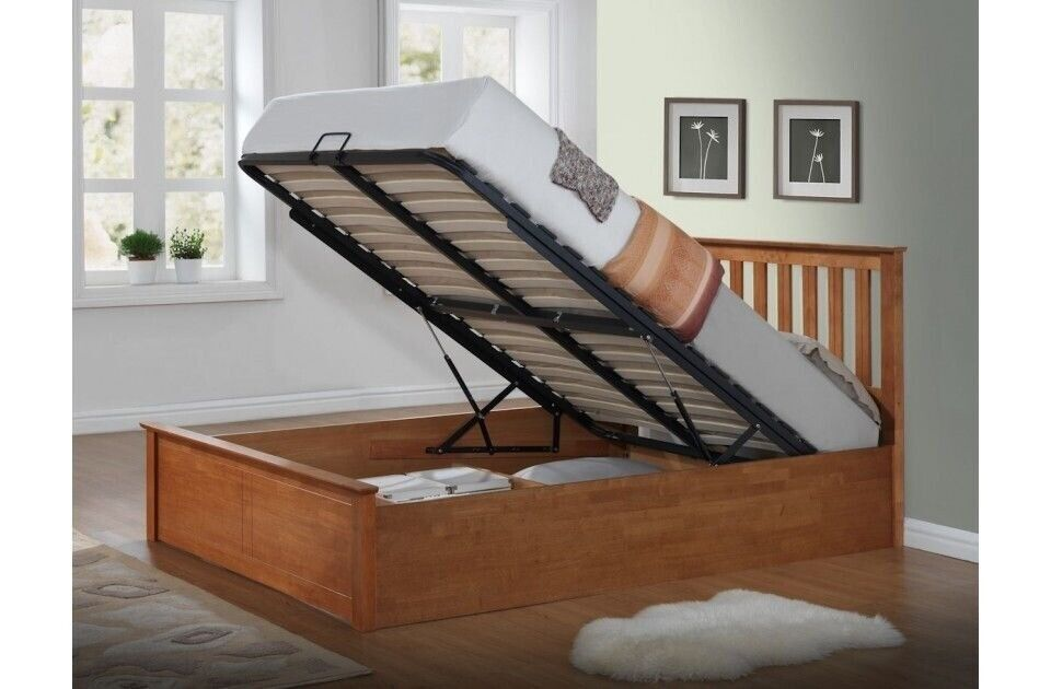 Wondrous Brand New Complete Wooden Double King Size Ottoman Storage Bed Frame Available In White Oak In Enfield London Gumtree Dailytribune Chair Design For Home Dailytribuneorg
