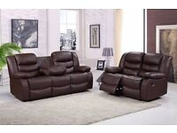 Edna 3&2 Luxury Bonded Leather Recliner Sofa Set & Drink Holder - *** FREE DELIVERY