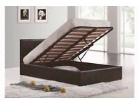 BRAND NEW DOUBLE LEATHER STORAGE OTTOMAN GAS LIFT BED FRAME-SINGLE,DOUBLE AND KINGSIZE AVAILABLE