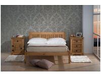 """DOUBLE WOODEN OAK BED + 6"""" MEMORY FOAM MATTRESS + QUALITY DUVET + 2 PILLOWS"""