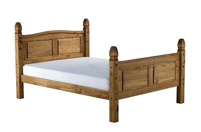 "Mercers Furniture® Corona Mexican Pine 5'0"" King Size High Foot End Bed Frame"