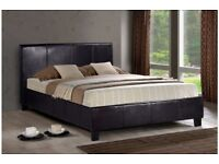 🌷💚🌷 BUY WITH CONFIDENCE 🌷💚🌷FAUX LEATHER DOUBLE BED FRAME + 9 INCH DEEP QUILT MATTRESS