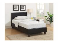 FREE DELIVERY *** BRAND NEW LEATHER BED WITH MATTRESS ONLY £105 ***